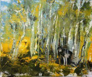 Wolf mit Birken
